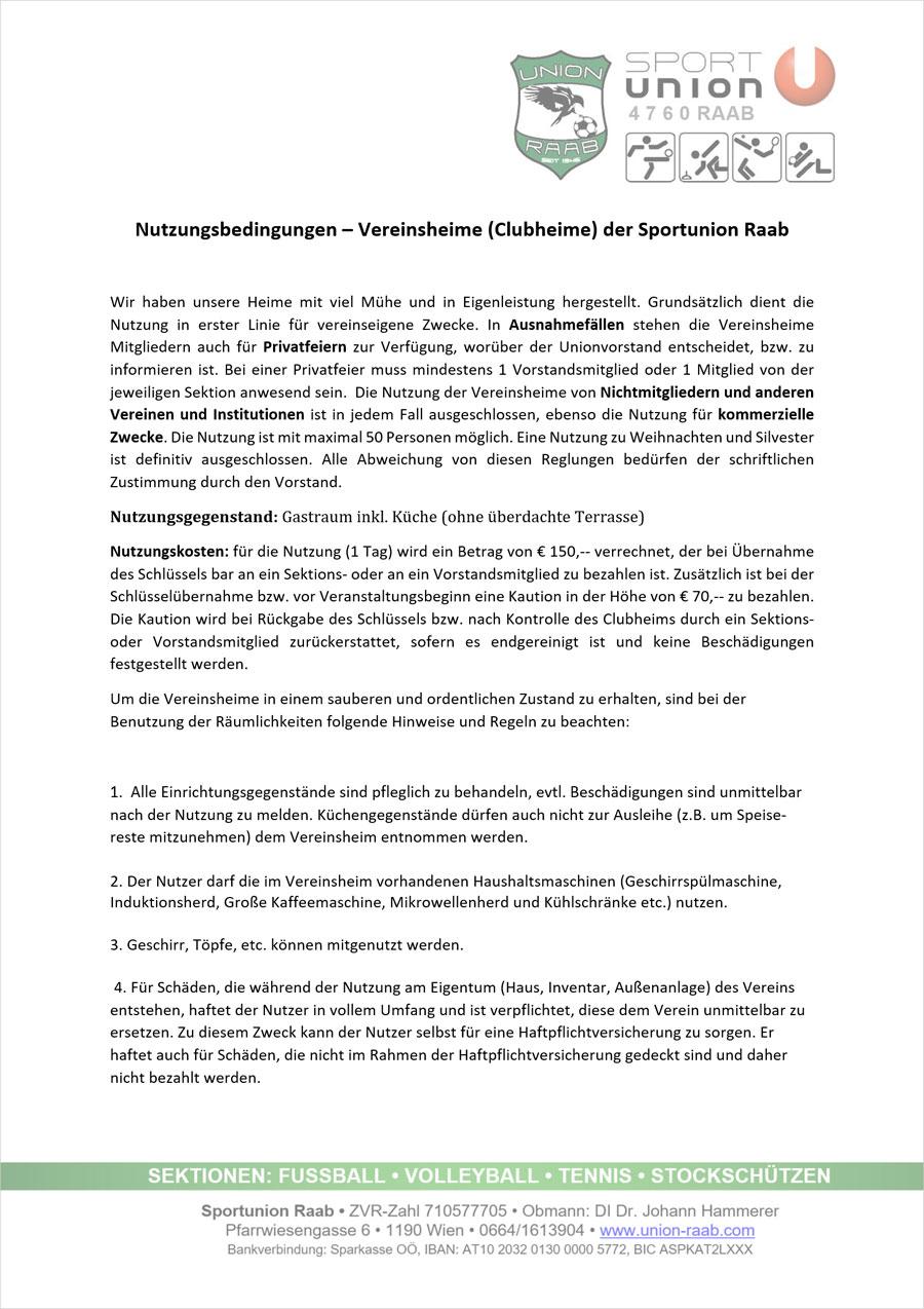 Nutzungsbedingungen Clubheim - Seite 01